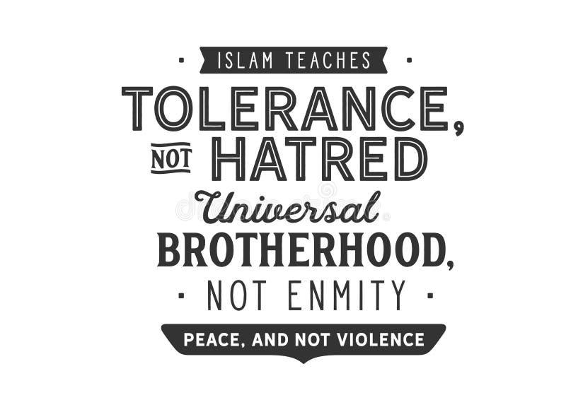 De islam onderwijst tolerantie, niet haat; vector illustratie