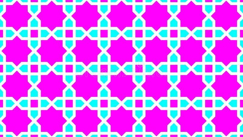 De Islamitische decoratie, bestaat uit vierkanten rond sterren is acht ribben, zijn de mooie kleuren magenta, cyaan en witte kleu vector illustratie