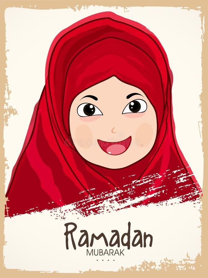 De Islamitische heilige viering van maandramadan kareem met leuk Moslimmeisje