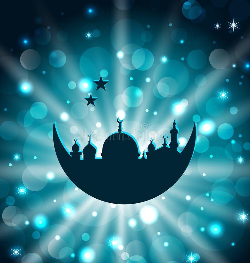 De Islamitische kaart van de Ramadanviering met architectuur vector illustratie
