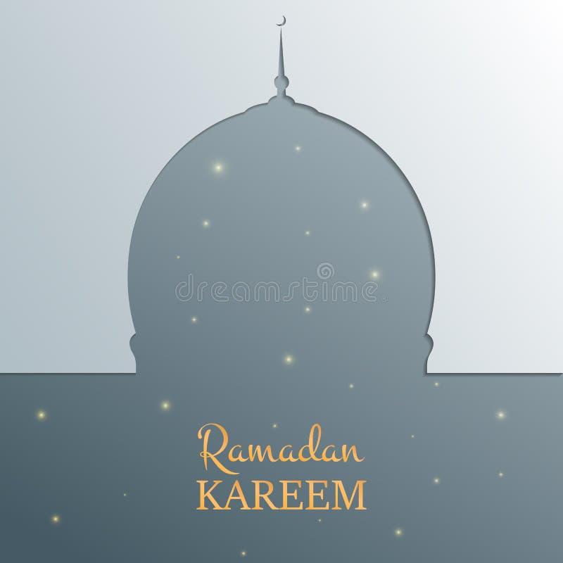 De Islamitische kaart van Ramadan Kareem Arabische achtergrond met moskee, glanzende sterren, gouden typografie