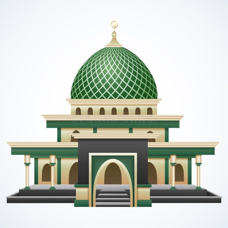 De Islamitische moskeebouw met groene die koepel op witte achtergrond wordt geïsoleerd royalty-vrije illustratie