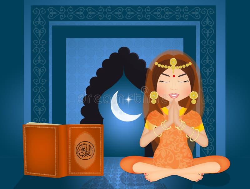 De Islamitische vrouw leest de Koran vector illustratie