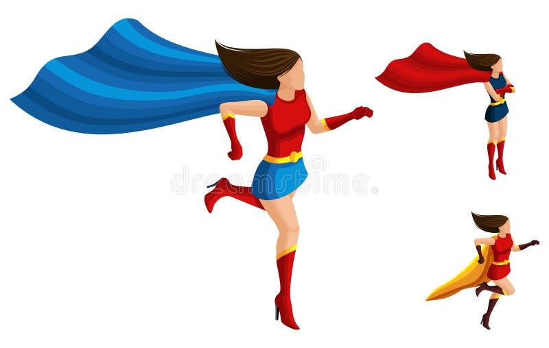 De Isometricsa reeks superheromeisjes in verschillende kostuums, looppas, een mantel en een haar ontwikkelt zich, een 3D vrouw, h stock illustratie