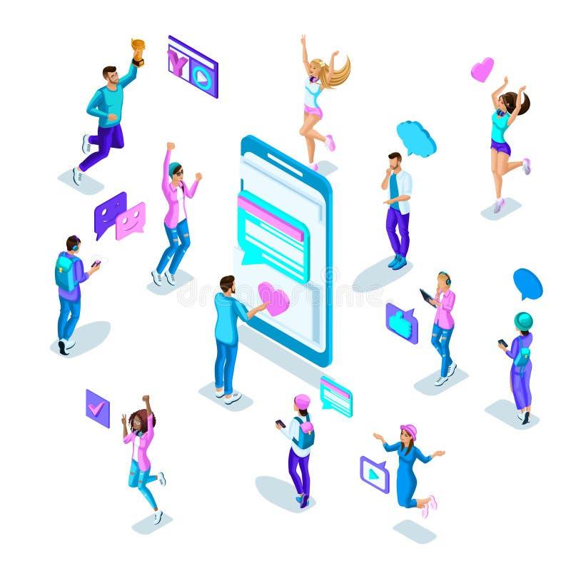 De Isometricstieners die in heldere kleren pret springen, communiceren door sociale netwerken Moderne smartphone van de pictogram vector illustratie
