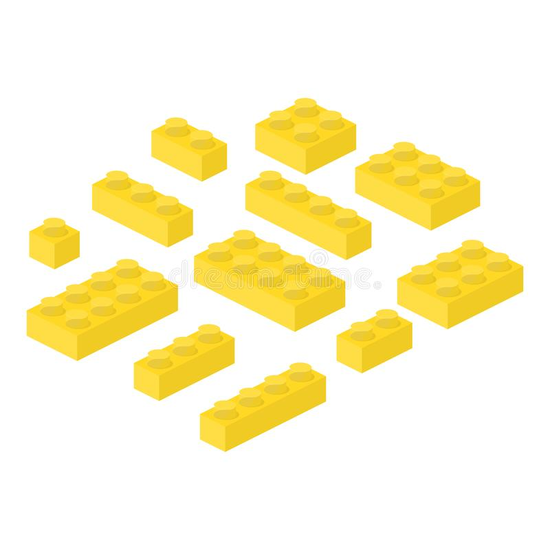 De isometrische aannemer blokkeert 3d kleuterschool bouwt kubieke vectorillustratie vector illustratie