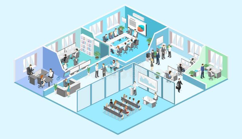 De isometrische binnenlandse vector van het afdelingenconcept conferentiezaal, bureaus, werkplaatsen royalty-vrije illustratie