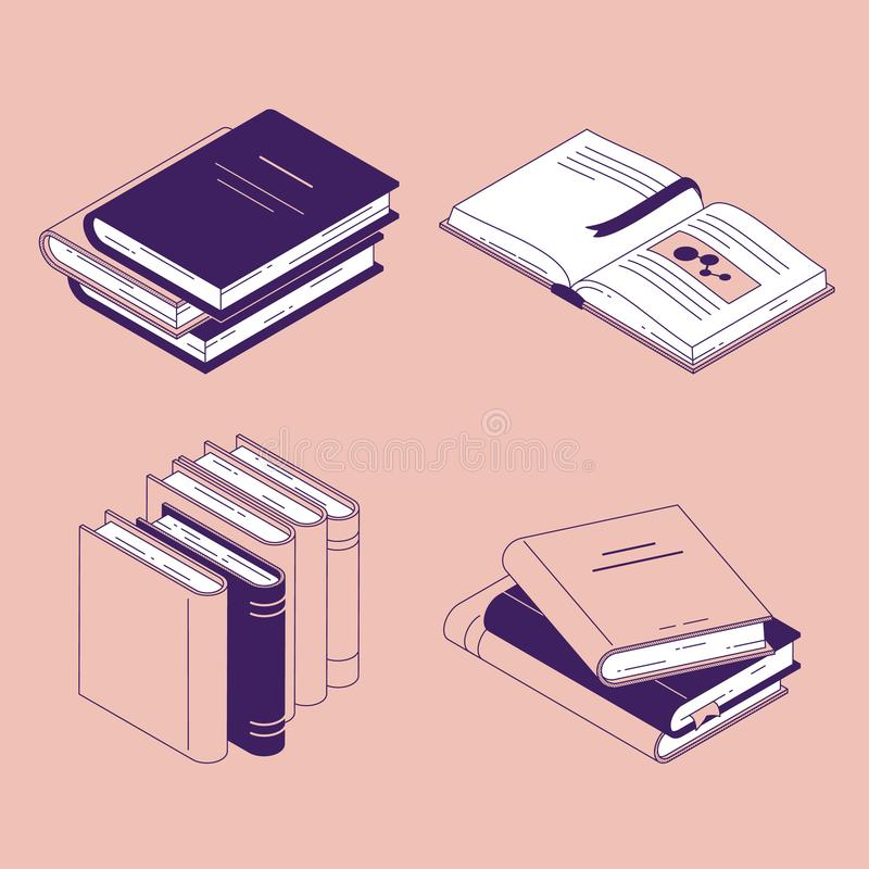 De isometrische boek vectorillustratie plaatste - geïsoleerde gesloten en open document literatuur of agenda met referenties vector illustratie