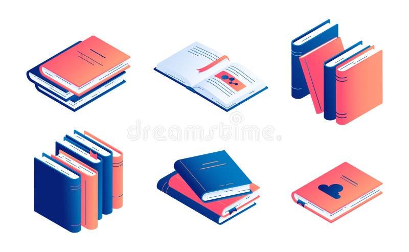 De isometrische boek vectorillustratie plaatste - geïsoleerde gesloten en open document literatuur of agenda royalty-vrije illustratie