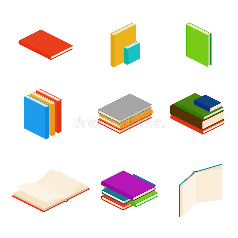 De isometrische boeken, encyclopedie, woordenboek, roman, documenteren vectorsymbolen royalty-vrije illustratie