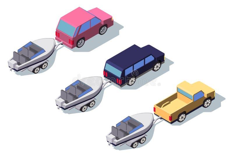 De isometrische 3d achterauto van de menings klassieke pick-up met boot stock illustratie