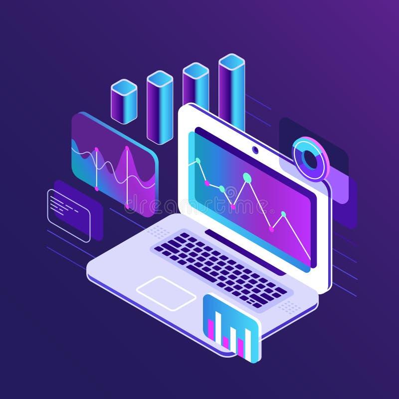 De isometrische 3d grafieken van de financiënmarktanalyse op bedrijfslaptop Analyserapport met de infographic vector van de gegev vector illustratie