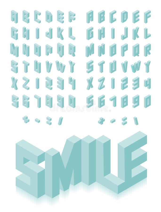 De isometrische 3d reeks van de typedoopvont royalty-vrije illustratie