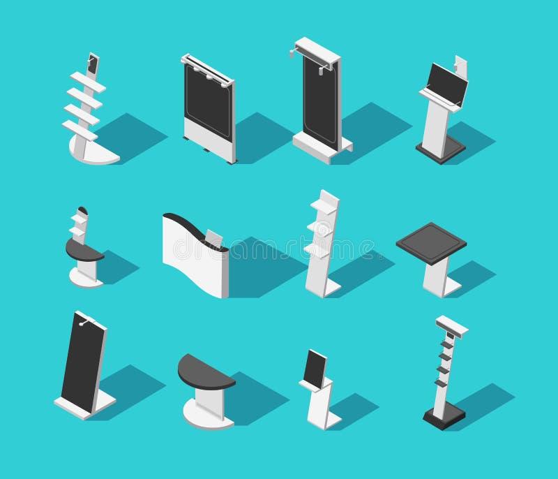 De isometrische 3d tribunes van de demonstratiecabine voor tentoonstelling isoleerden vectorreeks stock illustratie