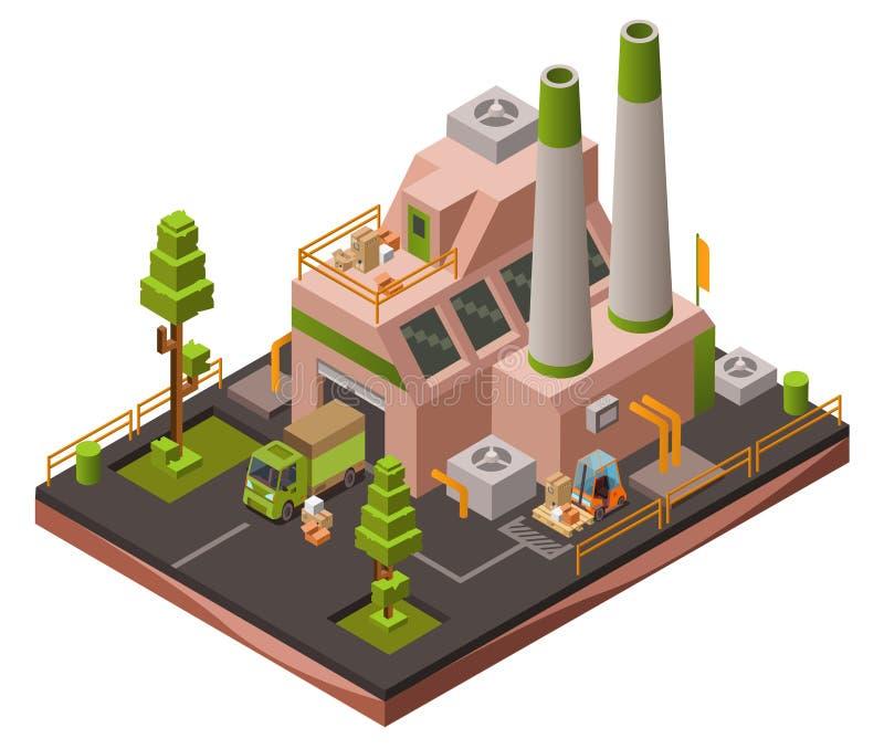 De isometrische 3D vectorillustratie van de fabrieksinstallatie van moderne industriële pakhuis en logistiekvervoervoertuigen vector illustratie