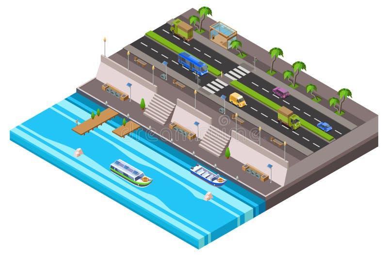 De isometrische 3D vectorillustratie van de rivieroeverstad van de stadskaart van de waterkant met auto's en de pijler van de riv stock illustratie