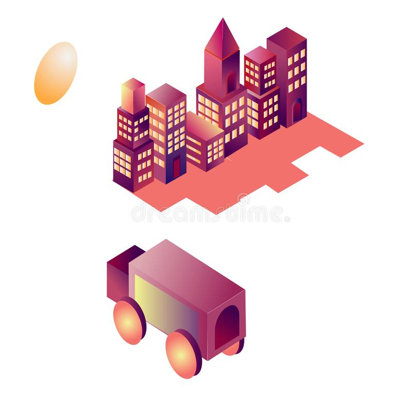 De isometrische die bouw in in openlucht stad, in purpere levendige gradiënten wordt getrokken Autovrachtwagen royalty-vrije illustratie