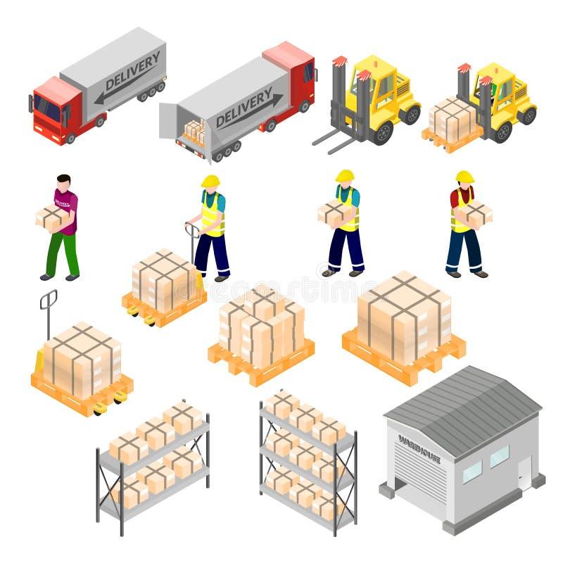 De isometrische elementen van de pakhuislogistiek stock illustratie