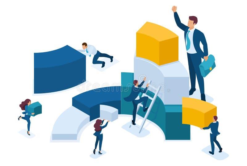 De isometrische Gegevens voor analyse, die tot grafieken, zakenlieden leiden dragen informatie Concept voor Webontwerp vector illustratie