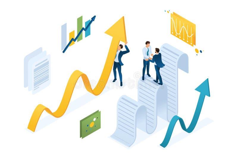 De isometrische gegevensverzamelingovereenkomst, zakenlieden verzamelt informatie en structureert het Concept voor Webontwerp stock illustratie