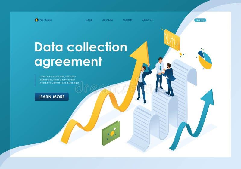 De isometrische gegevensverzamelingovereenkomst, zakenlieden verzamelt informatie en structureert het Malplaatjelandingspagina stock illustratie