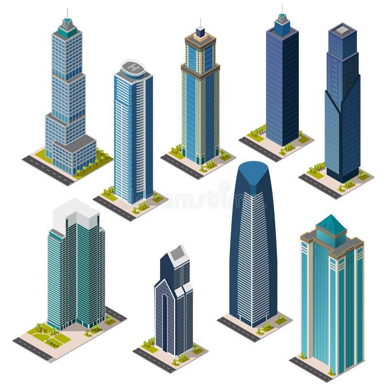 De isometrische geplaatste oriëntatiepunten van de wolkenkrabberstad De geïsoleerde vlakke gebouwen van het megapolisbureau royalty-vrije illustratie