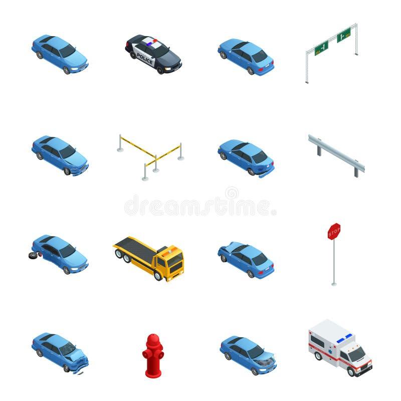 De Isometrische Geplaatste Pictogrammen van autoongevallen royalty-vrije illustratie