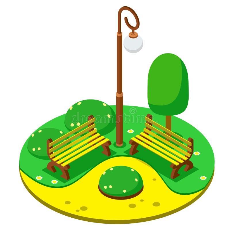 De isometrische groene lantaarn van Park gele banken stock illustratie