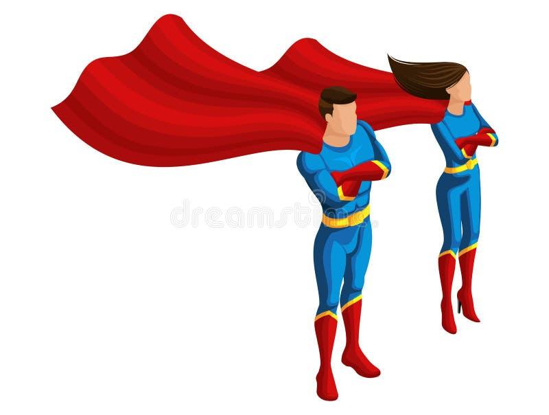 De isometrische het superheroesmens en meisje in kostuums, zorgen voor de orde, bewaken de stad, ontwikkelt de mantel karakters,  stock illustratie