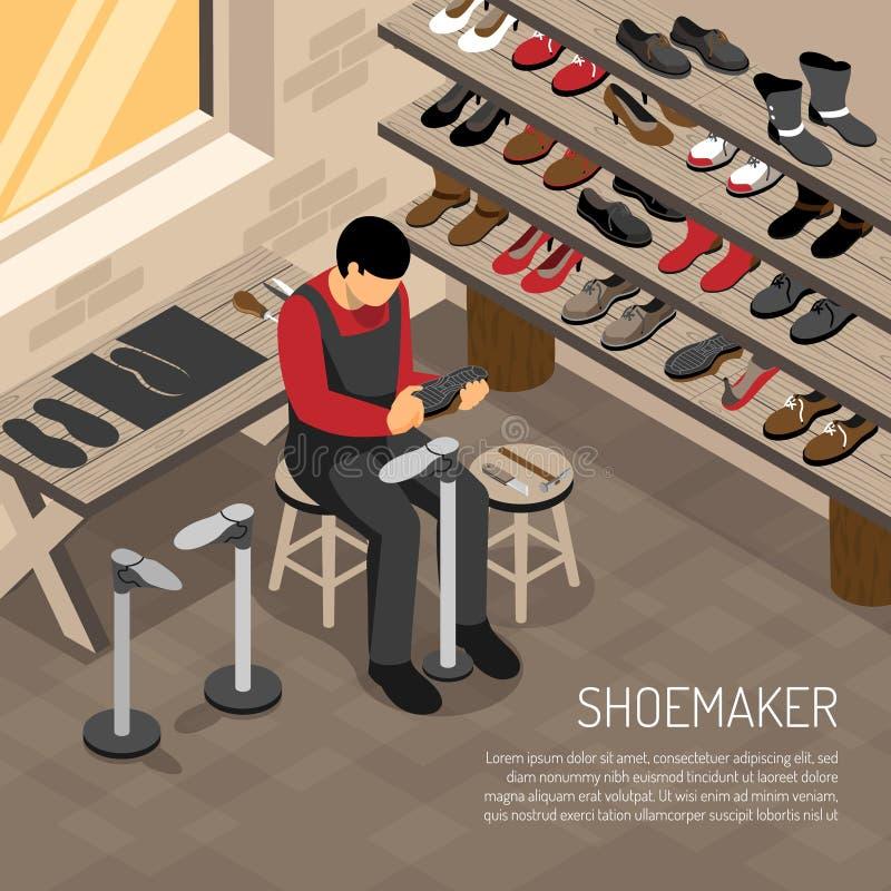 De Isometrische Illustratie van de schoenmaker vector illustratie
