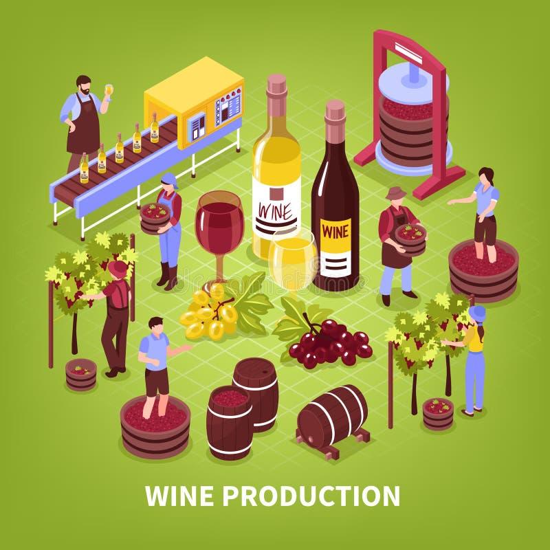 De Isometrische Illustratie van de wijnproductie royalty-vrije illustratie