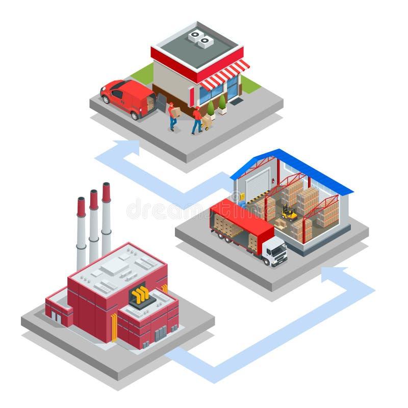 De isometrische Installatie van de Afvalverwerking Technologisch proces Vrachtwagen die afval vervoeren aan het recycling van ins royalty-vrije illustratie