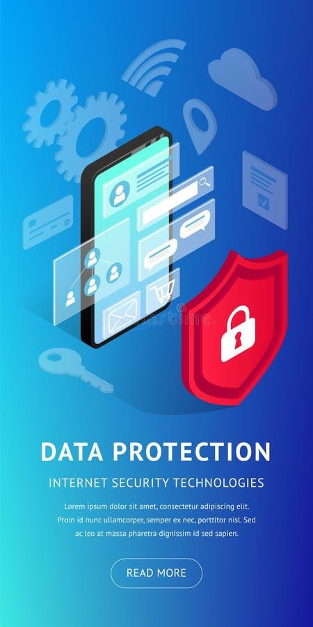 De isometrische Internet-verticale banner van veiligheidssmartphone stock illustratie