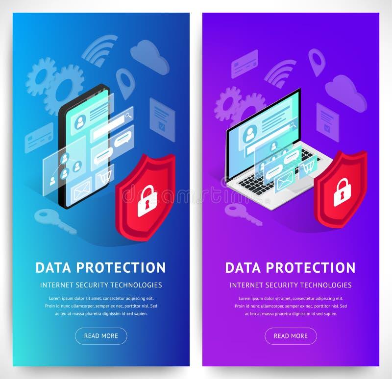 De isometrische Internet-verticale geplaatste banners van veiligheidssmartphone stock illustratie