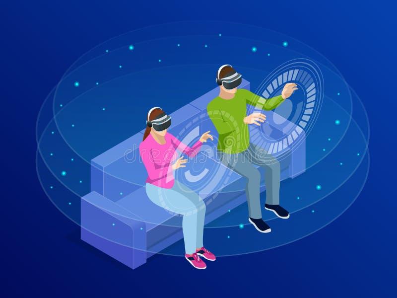 De isometrische jonge man en de vrouw dragen de virtuele werkelijkheidsglazen Het letten op en het tonen veronderstellen via de V vector illustratie