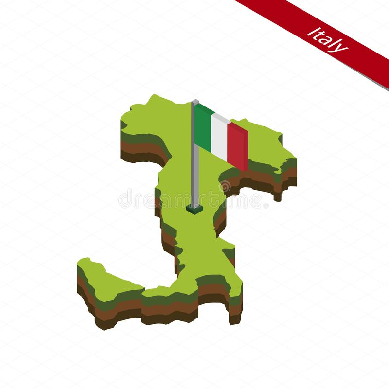 De de Isometrische kaart en vlag van Italië Vector illustratie vector illustratie