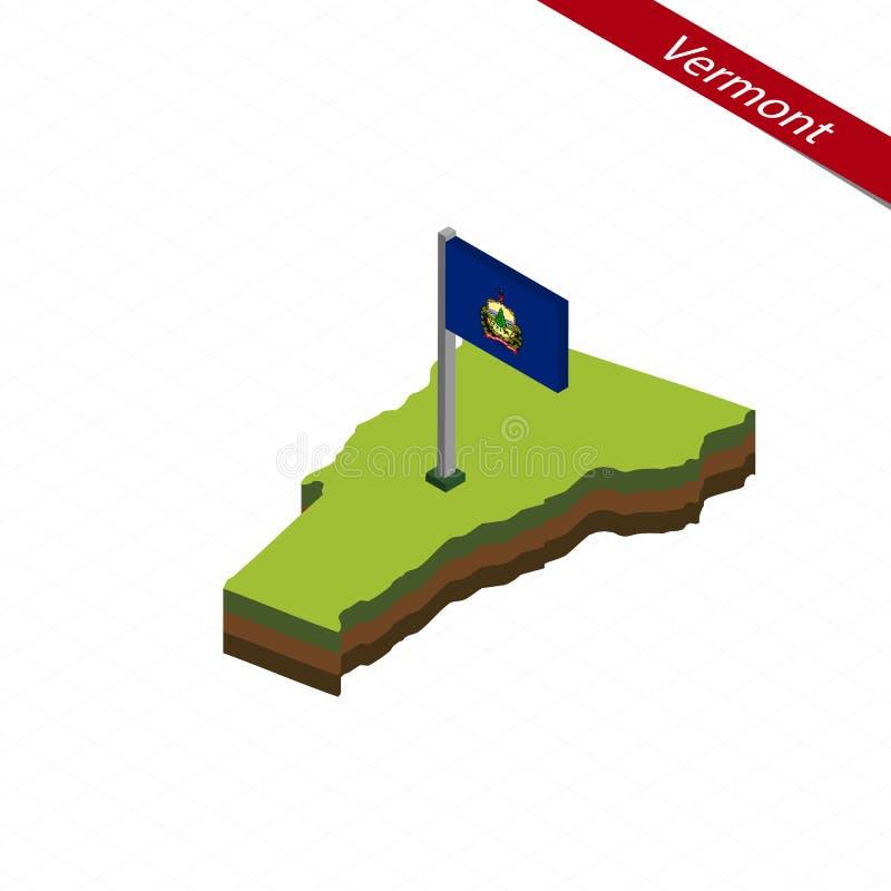 De de Isometrische kaart en vlag van Vermont Vector illustratie stock illustratie