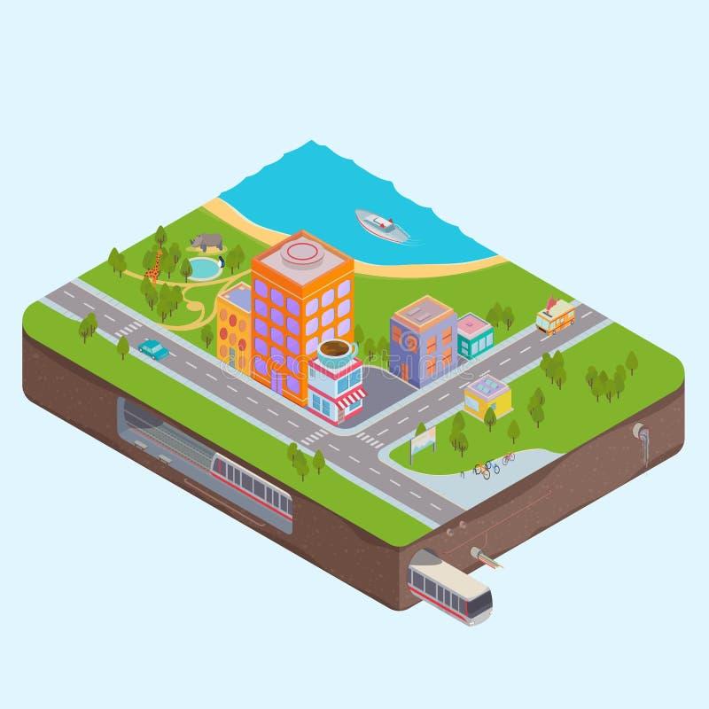 De isometrische kaart van het Stadscentrum stock illustratie