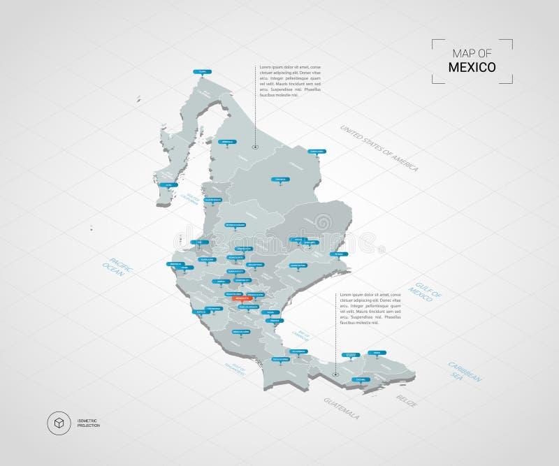 De isometrische kaart van Mexico met stadsnamen en administratieve afdeling stock illustratie