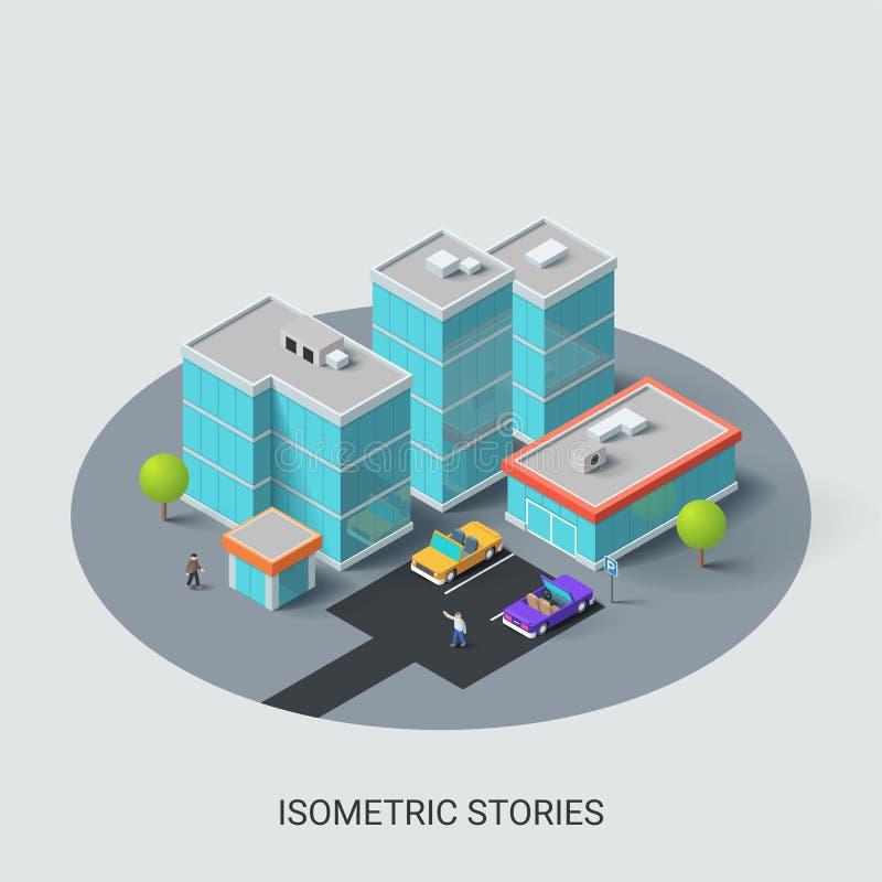 De isometrische kaart van de stadsplaats met bedrijfsgebouwen vector illustratie
