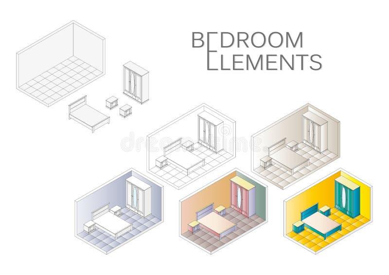 De isometrische lage polypictogrammen van het slaapkamermeubilair Vectorslaapkamer binnenlandse schets vector illustratie