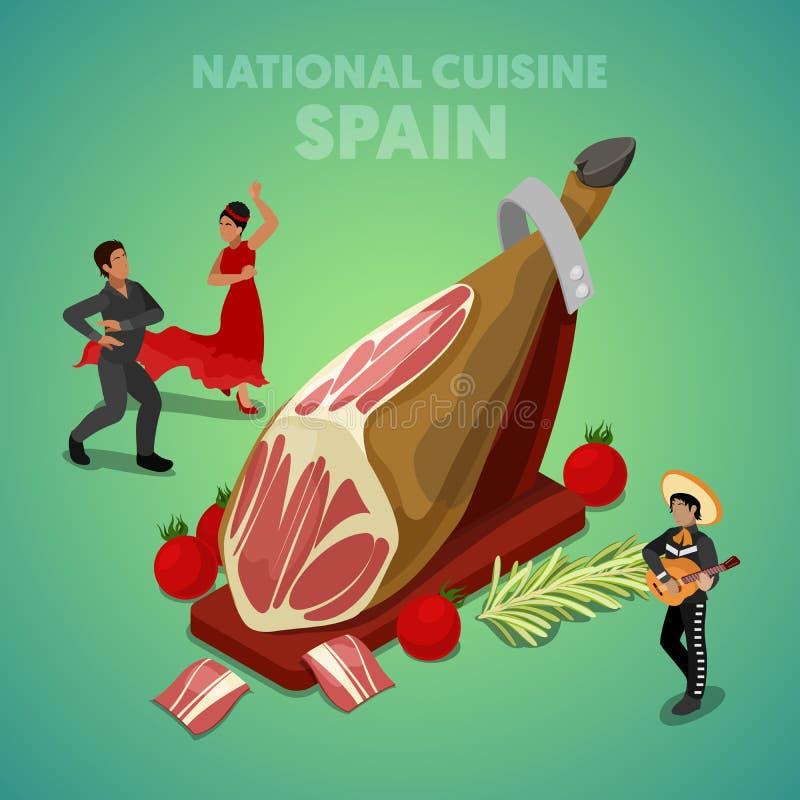 De isometrische Nationale Keuken van Spanje met Jamon en Spaanse Mensen in Traditionele Kleren stock illustratie
