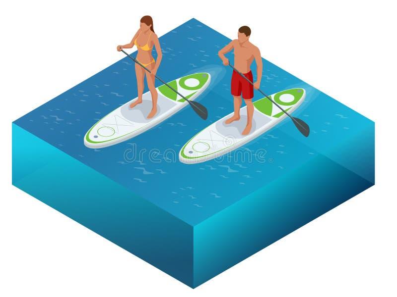 De isometrische Paddleboard-de strandmannen en vrouwen op tribune op peddel schepen surfplank in surfend in oceaanoverzees Het co vector illustratie