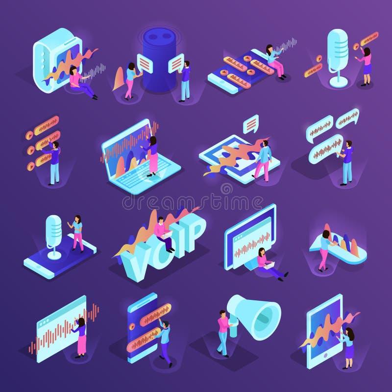 De Isometrische Pictogrammen van de stemcontrole stock illustratie