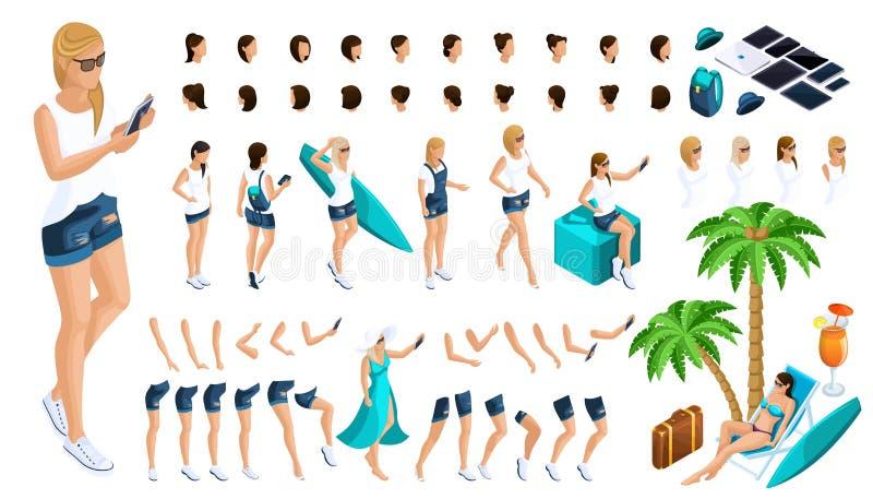 De isometrische Reeks gebaren van handen en voeten van de meisjes 3D tiener, rust, meisje in jeans en een vest leidt tot uw karak royalty-vrije illustratie