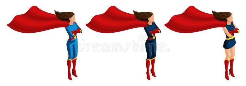 De isometrische reeks superheromeisjes in kostuums, zorgt voor de orde, bewaakt de stad royalty-vrije illustratie