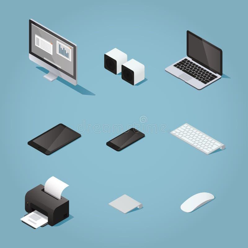 De isometrische reeks van de bureaucomputer stock illustratie