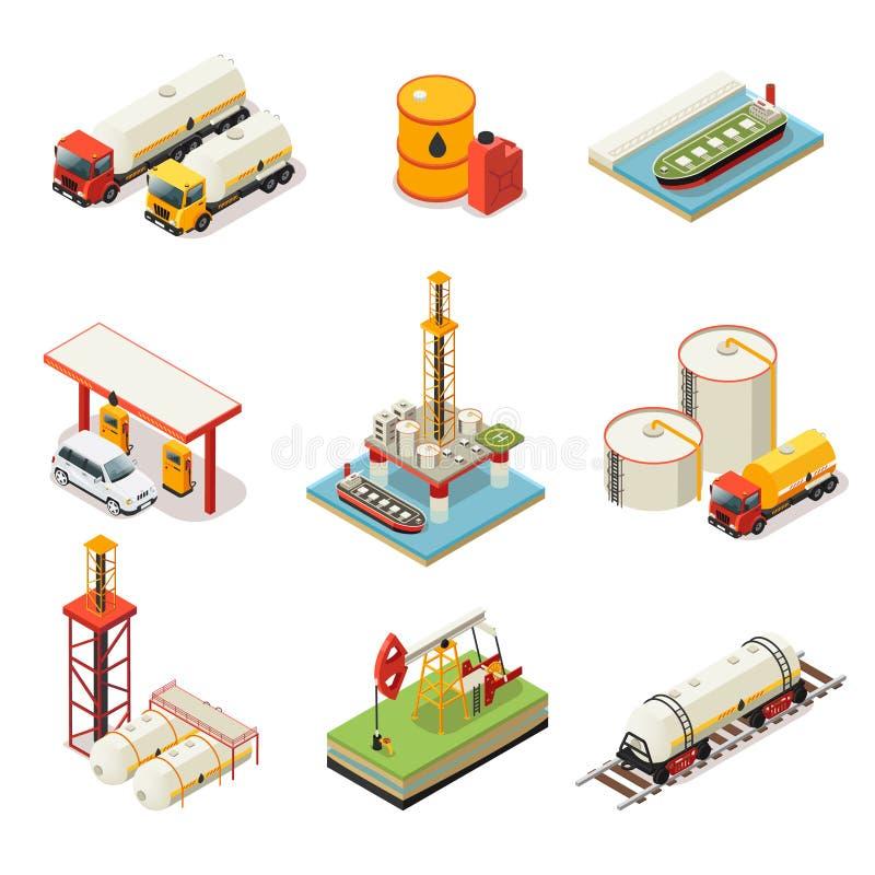 De isometrische Reeks van de Olieindustrie royalty-vrije illustratie