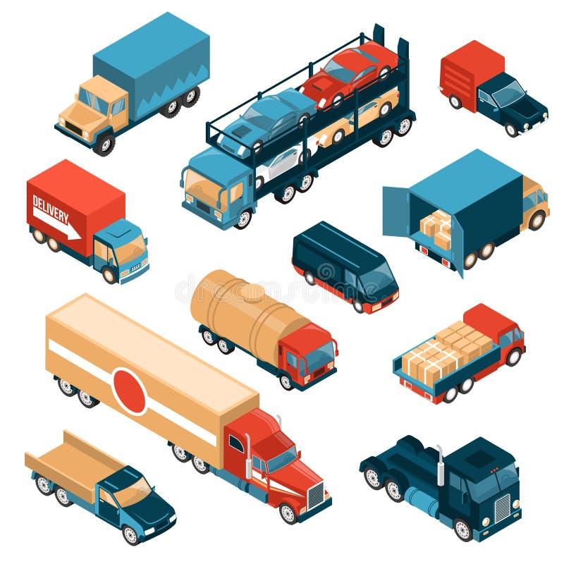 De Isometrische Reeks van leveringsvrachtwagens royalty-vrije illustratie