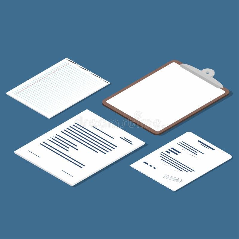 De isometrische reeks van ontvangstbewijs, contract, klembord, spatie voerde document blad Officiële documentenpictogrammen vector illustratie